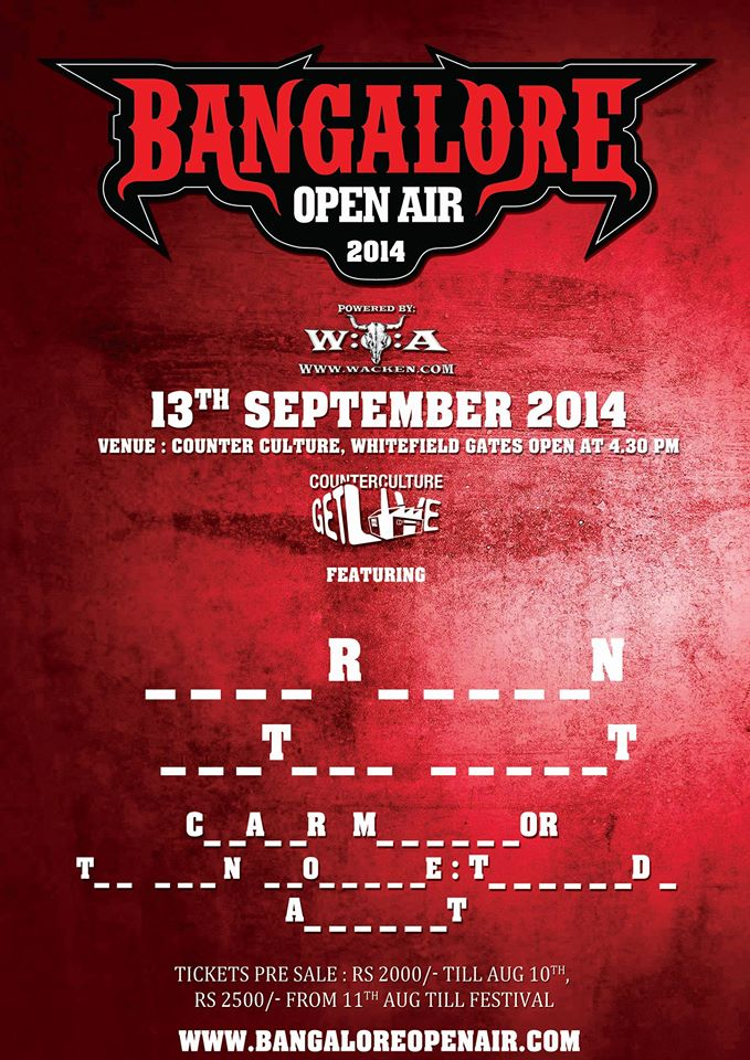 Bangalore Open Air 2014 Lineup, Venue, Tickets