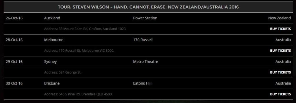 india tour dates steven wilson